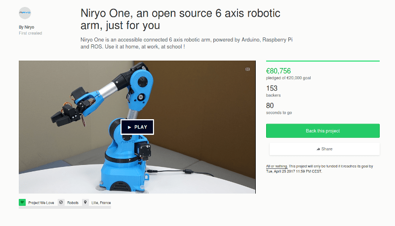 niryo one kickstarter successfully funded