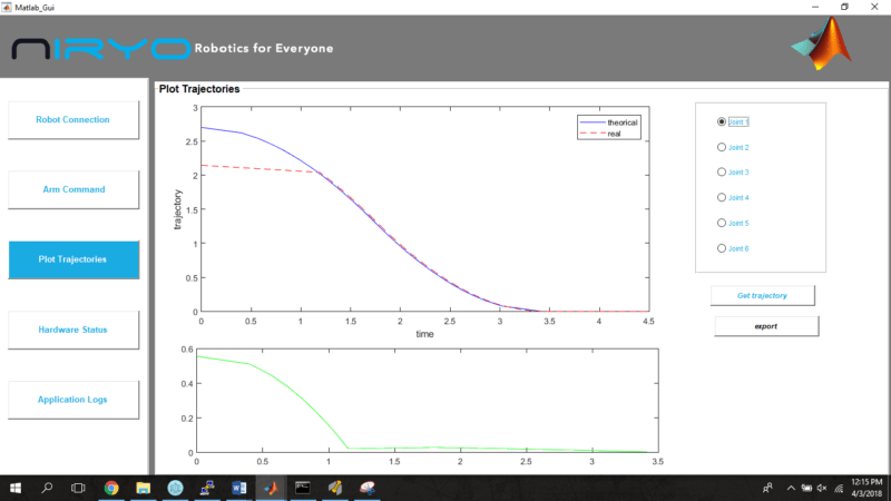 Niryo One Matlab - Plot trajectory